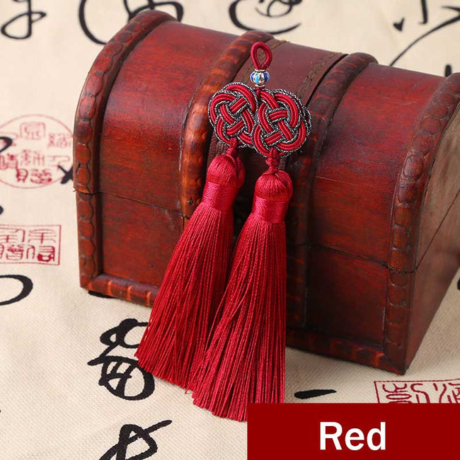 Double_Coin_Knot_Bookmark_Tassels_Red