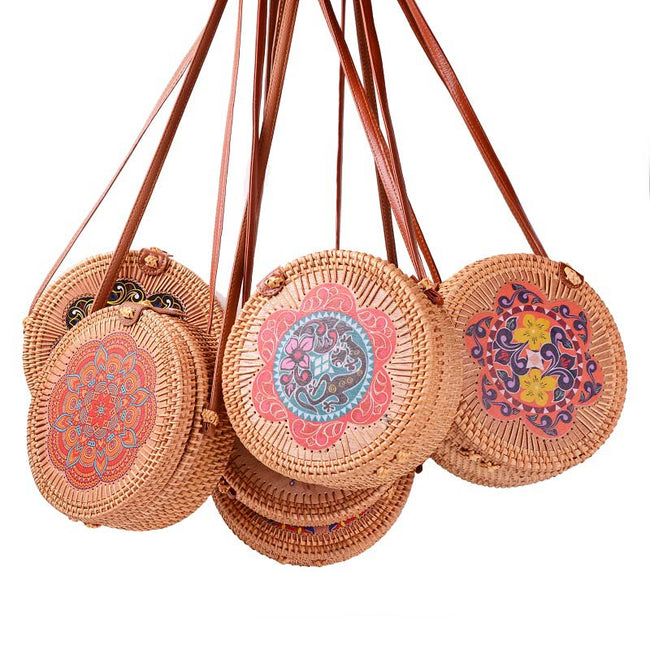 Rattan_woven_flower_printing_round_crossbody_bag
