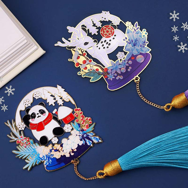 The_Panda_and_Deer_Christmas_Bookmarks