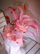 Pink & White Rose Ribbon Fascinator Derby Hat