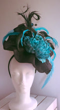 Black and Turquoise Large Fascinator Derby Hat
