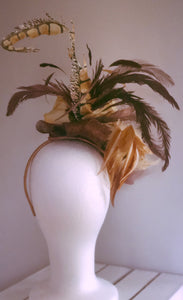 Brown, Khaki & Copper Fascinator Derby Hat