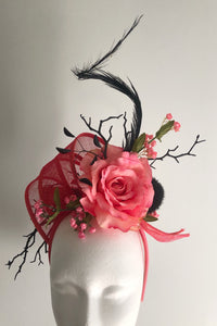 Melon and Black Twig and Rose Fascinator Derby Hat