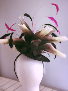 Large Black, Pink & White Flower Breast Cancer Awareness Fascinator Derby Hat