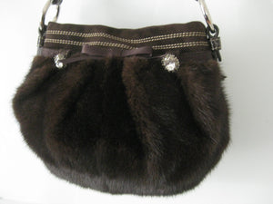 COACH DARK BROWN MINK EVENING BAG NEW