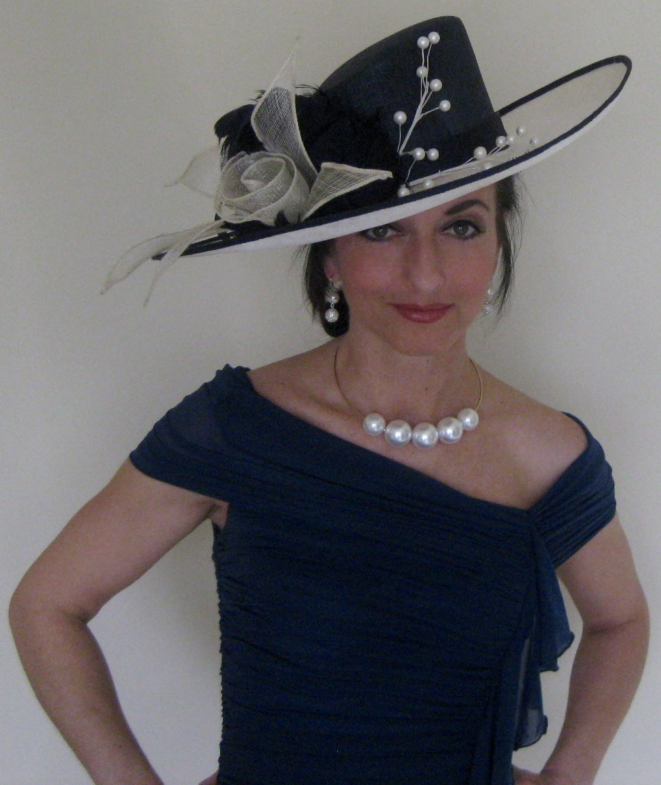 Navy and Ivory Sinamay Derby Hat