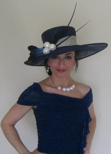 Navy with Ivory Trim Large Pearl Derby Hat with Quills