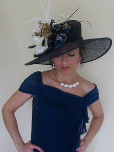 Large Navy Derby Hat with Magnolia Flower