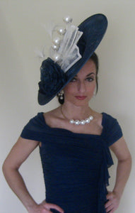 Large Navy Fascinator with White Accents Derby Hat
