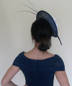Navy Twig Fascinator with White Accents Derby Hat