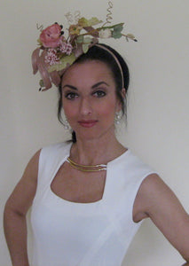 Dusty Pink Rose Corkscrew Fascinator Derby Hat