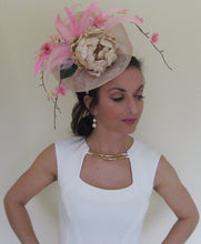 Beige and Pink Peony Fascinator Derby Hat