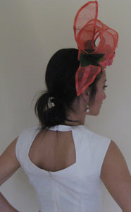 Bright Melon Abstract Fascinator Derby Hat