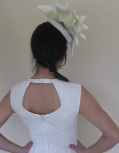 Large White Flower Fascinator Derby Hat