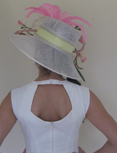 Large White Kentucky Oaks Derby Hat with Pink Accents