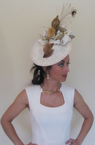 Neutral Peacock Feather Fascinator Derby Hat
