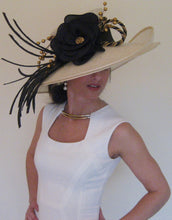 Large Ivory Derby Hat with Black and Gold Accents