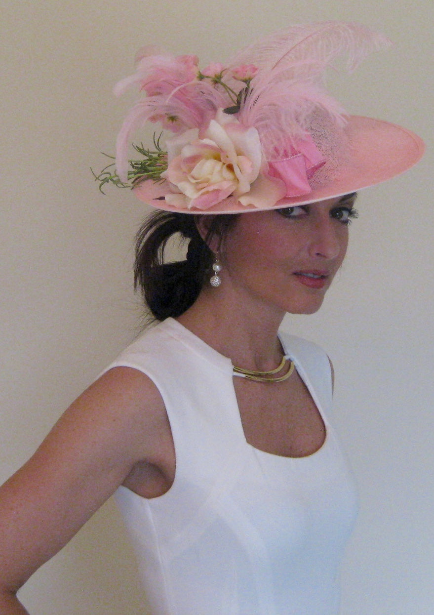 Pink Roses Lace Fascinator Derby Hat