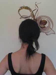 Neutral Magnolia Fascinator Derby Hat