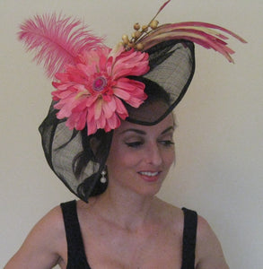 Large Black Pink Bow Fascinator Derby Hat