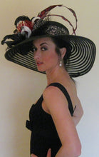Large Black Derby Hat with Red and White Accents