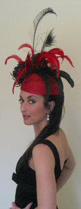 Large Red and Black Fascinator Derby Hat