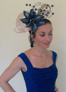 Large Beige Blue Fascinator Derby Hat