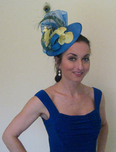 Royal Blue Lime Green Peacock Fascinator Derby Hat