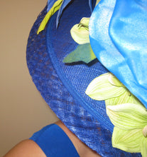 Royal Blue Lime Green Large Fascinator Derby Hat