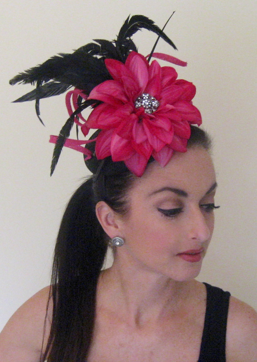 Pink and Black Abstract Fascinator Derby Hat