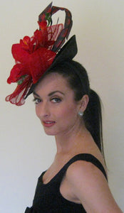 Red and Black Fascinator Derby Hat