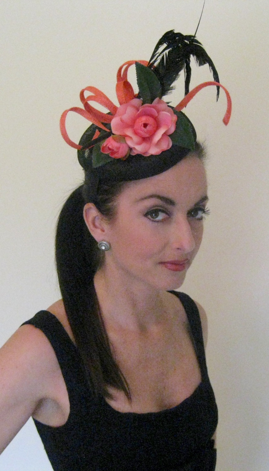 Melon and Black Abstract Fascinator Derby Hat