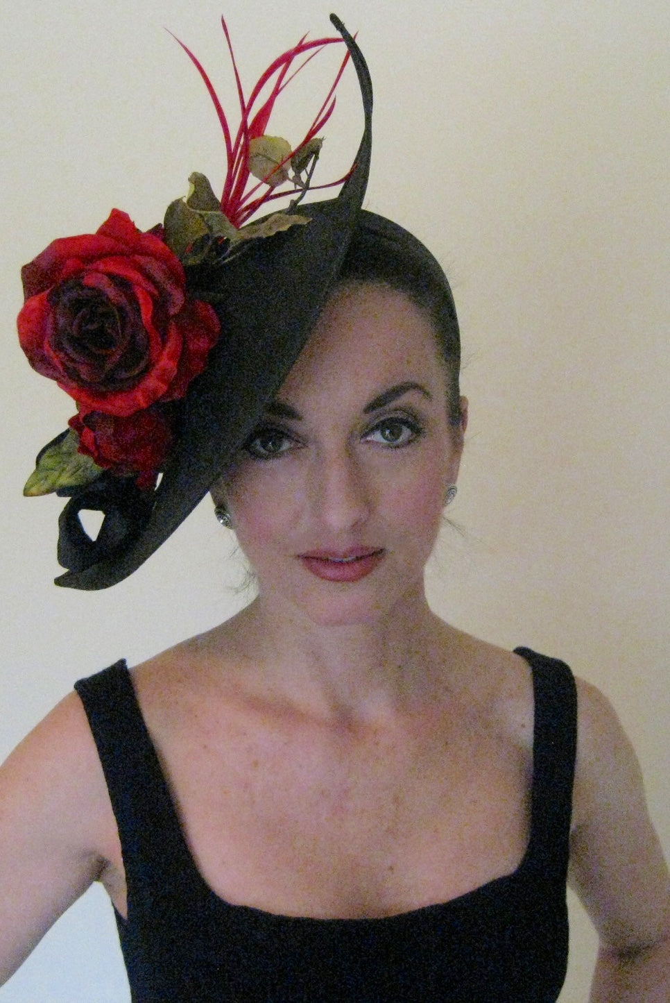 Black and Red Fascinator Derby Hat