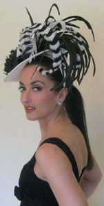 Large Black and White Fascinator Derby Hat