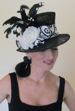 Black and White Mad Hatter Style Derby Hat