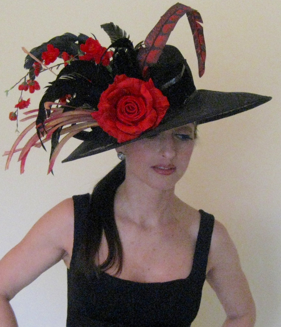 Black Derby Hat with Red and Black Accents