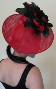 Red and Black Large Flower with Jewel Detail Fascinator Derby Hat