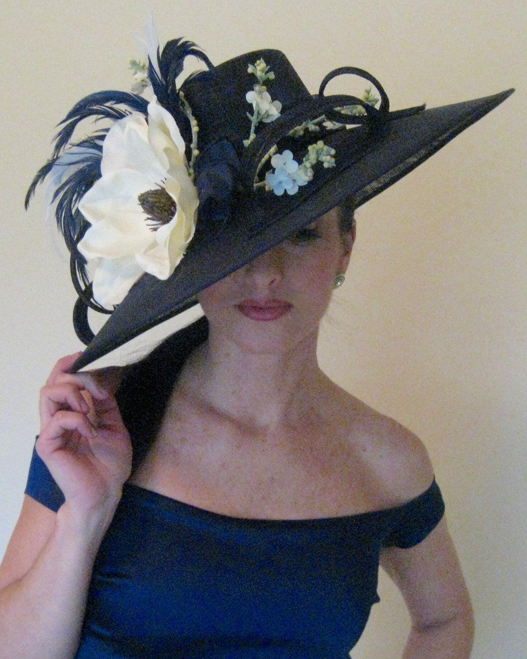 Navy Derby Hat with White Magnolia Accents