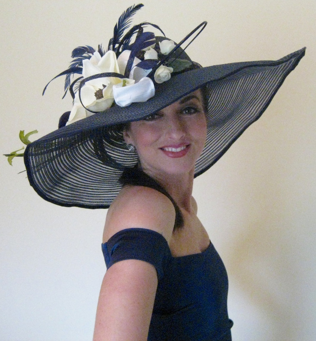 Large Navy Derby Hat with White Magnolia Accents