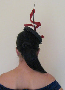 Navy Blue and Red Abstract Dogwood Fascinator Derby Hat