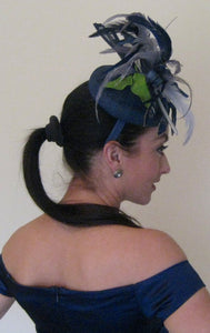 Navy Blue and Silver Fascinator Derby Hat