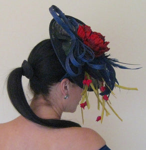 Navy Blue and Red Fascinator Derby Hat