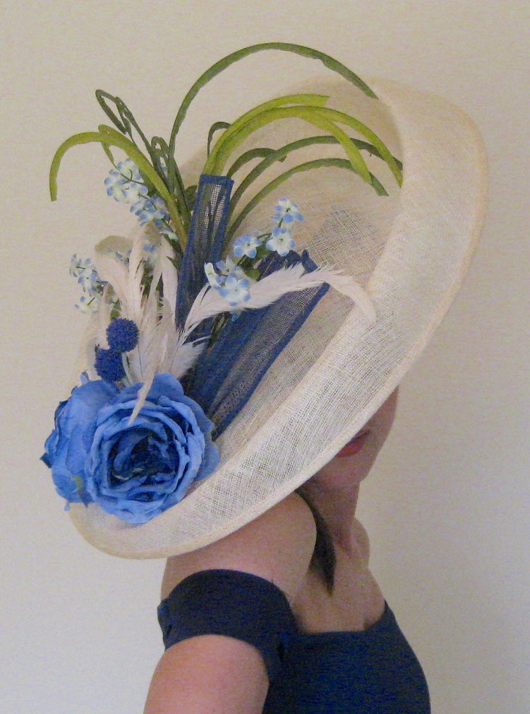 Large Ivory Fascinator with Blue Accents Derby Hat