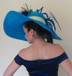 Large Turquoise and Lime Green Derby Hat