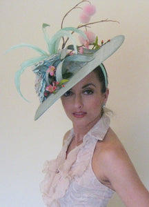 Aqua and Pink Corkscrew Fascinator Derby Hat