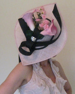 Pink and Black Calla Lily Fascinator Derby Hat