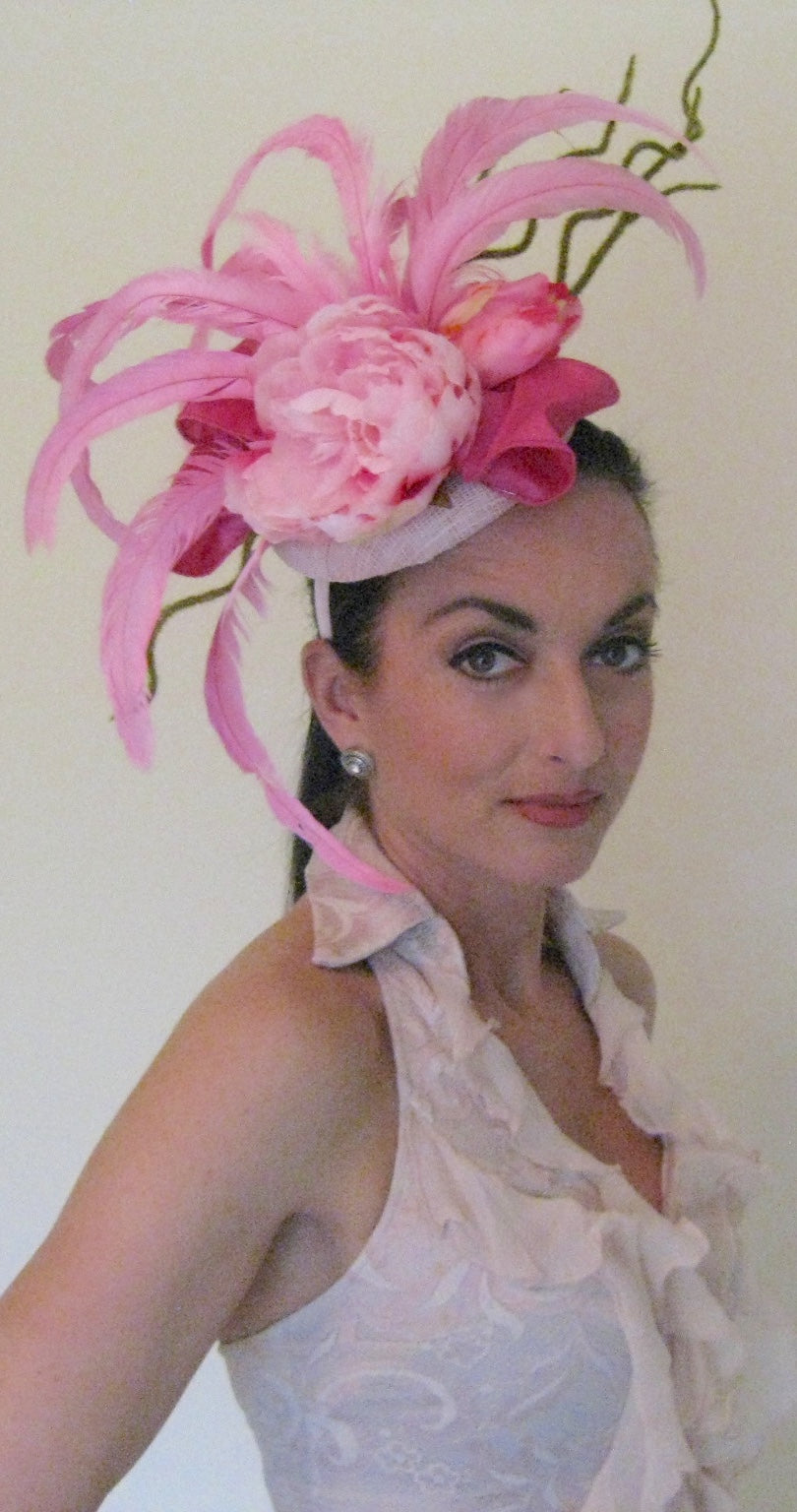Pink Peony Fascinator Derby Hat