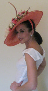Large Melon Pink Fascinator with Pink and Ivory Accents Derby Hat