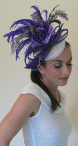Purple Power Rose Feather Fascinator Derby Hat