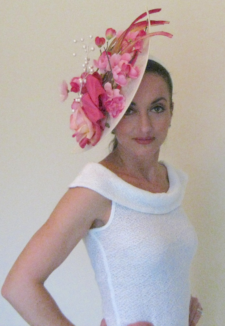 Ivory and Pink Rose Fascinator Derby Hat